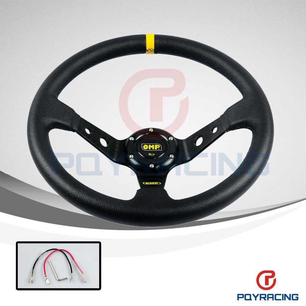 "14"" 350MM OMP Steering Wheel PVC Leather Steering Wheel 14 Inch OMP Steering Wheels Deep Corn Dish Wholesale and Retailer(China (Mainland))"