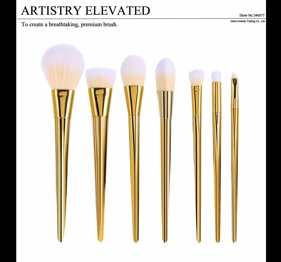 7 Rose Gold Makeup Brushes Real Techniques Brushes 7 pcs Blush Powder Foundation