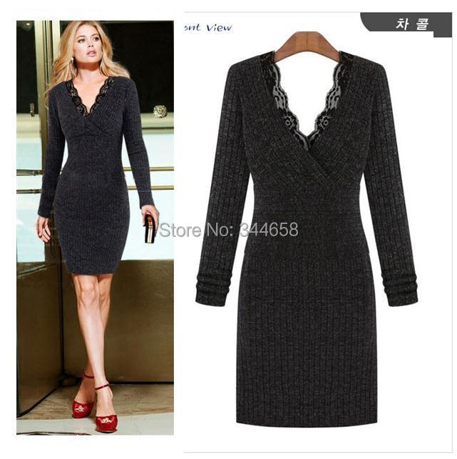 womens dresses Winter European -Style Long-Sleeved Stretch Knit Chiffon Lace Cashmere Dress Female 204 new Clothing - The only design studio store