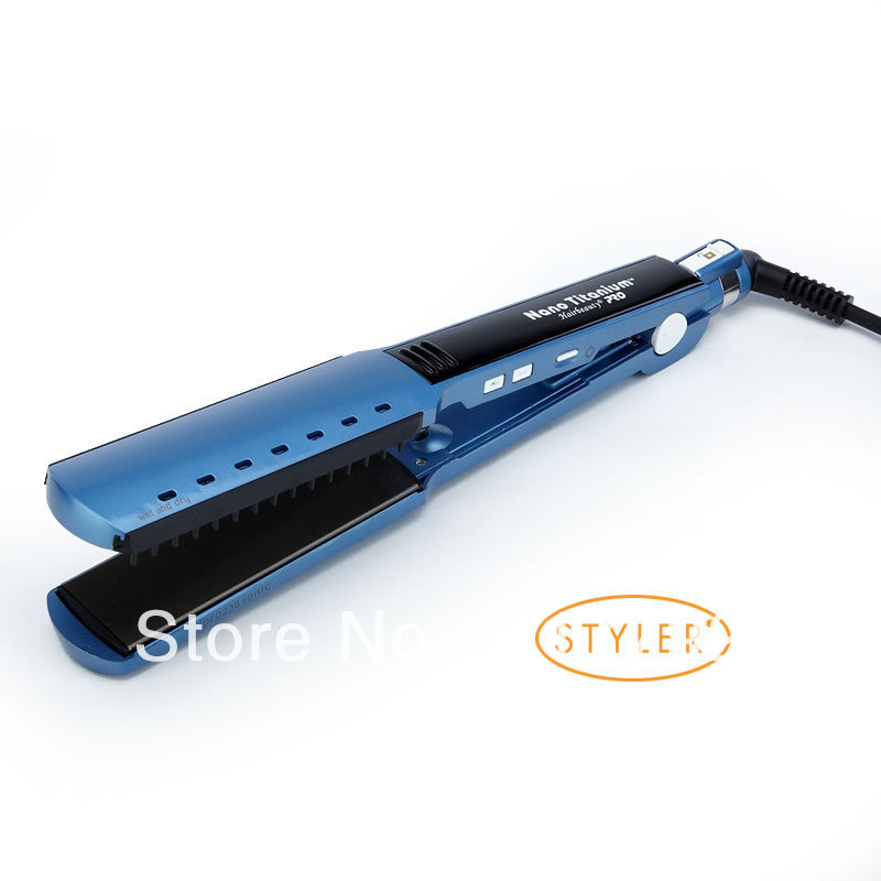 High quality professional Nano Titanium Ceramic Hair Straightener Iron adjust temperature wet and dry Blue Fast Shipping(China (Mainland))