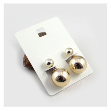 Europe and the United States jewelry wholesale gold/white gold double ball stud earrings personality(China (Mainland))