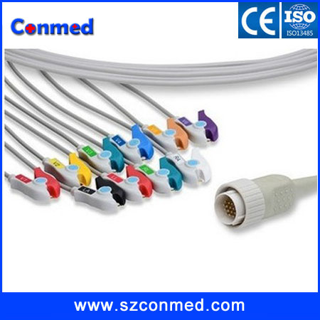 free shipping 4.7K resistance 12 Channel Electrocardiogram Cable, 10 Leads AHA CLIP ECG Cable for KENZ PC-104 Cardioline Remco(China (Mainland))