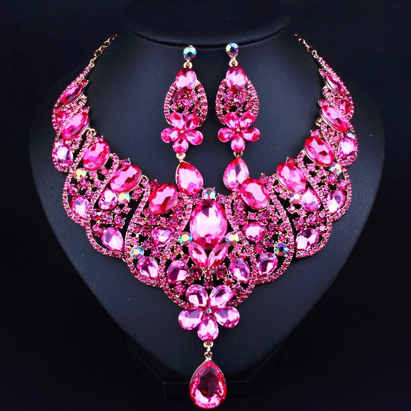 Роскошные Свадебные Комплекты Ювелирных Изделий позолоченный Заявление Ожерелье и серьги для Невесты Свадебные Африканских Ювелирные наборы