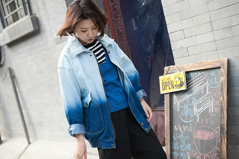 Autumn and winter new European and American street large gradient color gradient denim jacket, cotton large size female jacket