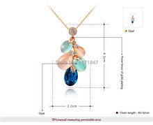 Womens Girls Luxury Brand Large Crystal Jewlery Rose Gold White Gold Plated Peacock Shape White Blue