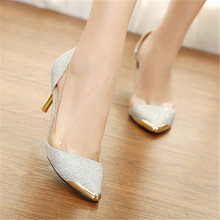 2016 Valentine Sexy Gold silver Women Pumps Red Bottom High Heels Chaussure Femme Semelle Rouge Wedge