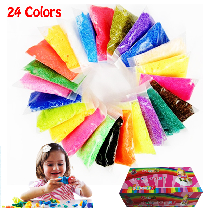 Гаджет  24 colors DIY 3D magic snow clay foam putty kids fancy toys brinquedos malleable plasticine 20g/bag 24bags/lot =480g WXT628 None Игрушки и Хобби