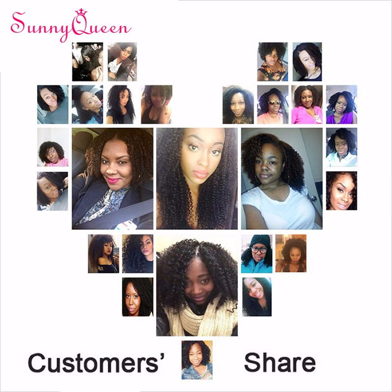 7A Grade Clip In Human Hair Extensions for Black Women 7PCS/Pack Brazilian Kinky Curly Hair Clip in Hair Extensions Sunny Queen