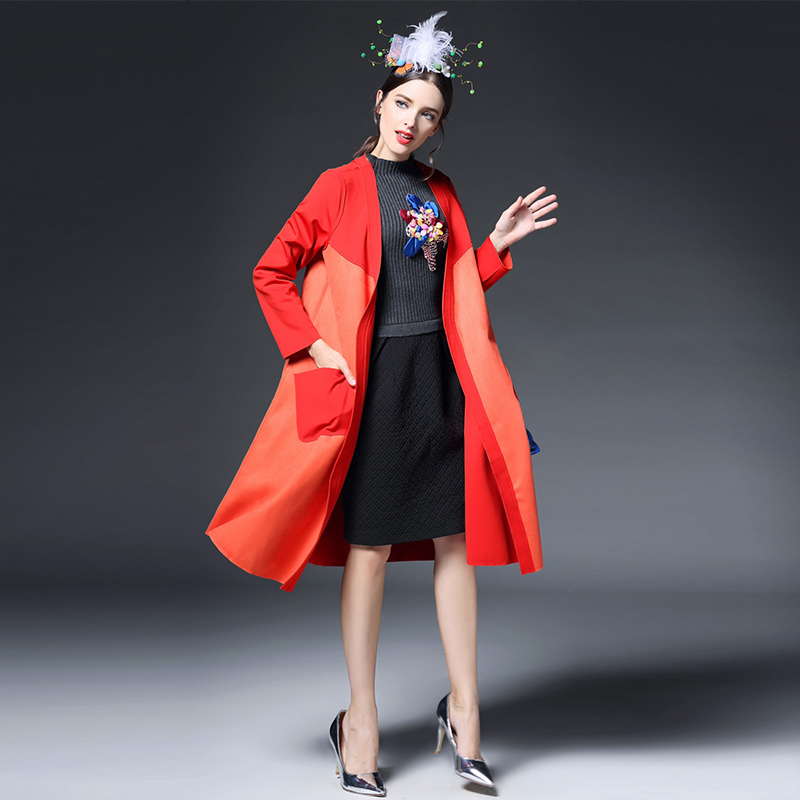 Burderry Women Trench Coat For Women Desigual Coat 2015 Autumn Winter Coat Casual Solid Loose Long Trench Coat Plus Size CoatОдежда и ак�е��уары<br><br><br>Aliexpress
