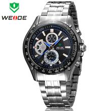 Marca de lujo WEIDE Mens genuino japón deportes de cuarzo relojes de moda completa de acero reloj de vestir de negocios impermeable reloj Casual