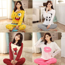 New 2015 Fashion Promotion Casual Pajama Sets Long Sleeve O-Neck Lady Cotton Sleepwear Nightwear Sleep Lounge Charater M-XL Z913