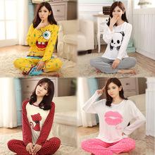 Nova 2015 Promoção Moda Casual Pajama Define manga comprida O-Neck Lady Cotton Pijamas Roupa de Noite sono Salão Charater M-XL Z913