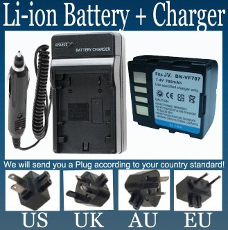 Battery + Charger for JVC BN-VF707 BN-VF707U and Everio GZ-MG27,GZ-MG37,GZ-MG57,GZ-MG67,GZ-MG70,GZ-MG77 Digital Media Camcorder(China (Mainland))