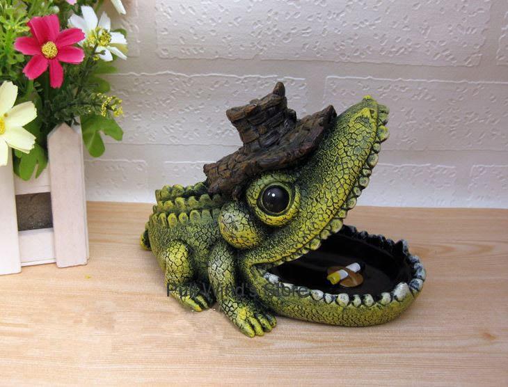 Funny resin alligator ashtray Creative personality ashtray Big Mouth ashtray Home table decorations Wonderful gift(China (Mainland))