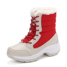 Botas para la nieve de invierno 2016 mujer invierno cálido Casual shoes aumento de la altura de cuero genuino sólido breathbale femenino de nieve botas de invierno(China (Mainland))