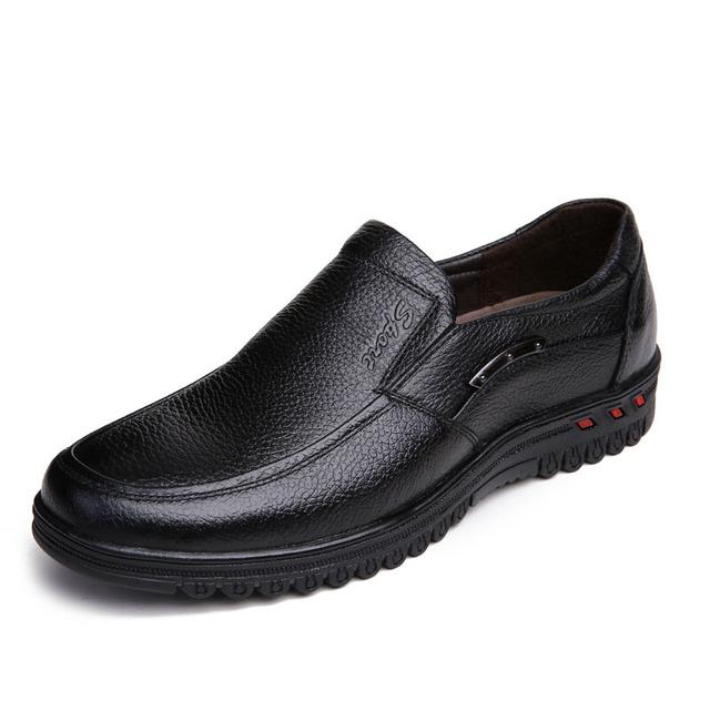 Мужчины кожаные ботинки 2016 свободного покроя бизнес обувь квартиры человек мода ...