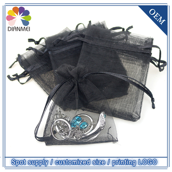 Hot Sale 100pcs/lot 7x9cm Black Drawstring Organza Jewelry Packaging Can Customized Logo Wedding Favor Gift Bags & Pouches