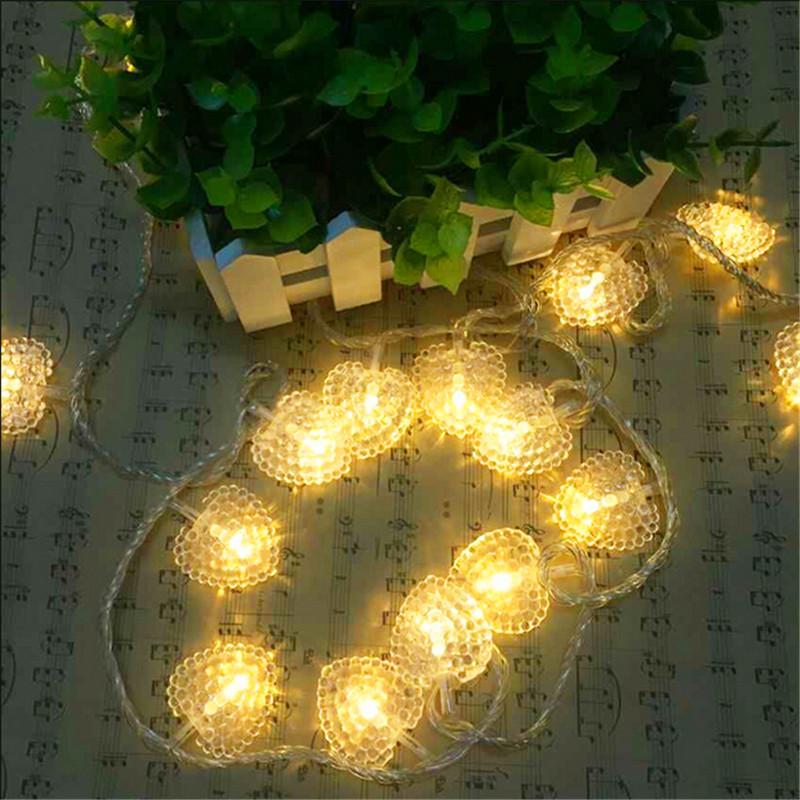 8M 50LED Wedding Party xmas Heart Shape Love Festival String Fairy Lights Free Shipping Christmas light battery(China (Mainland))
