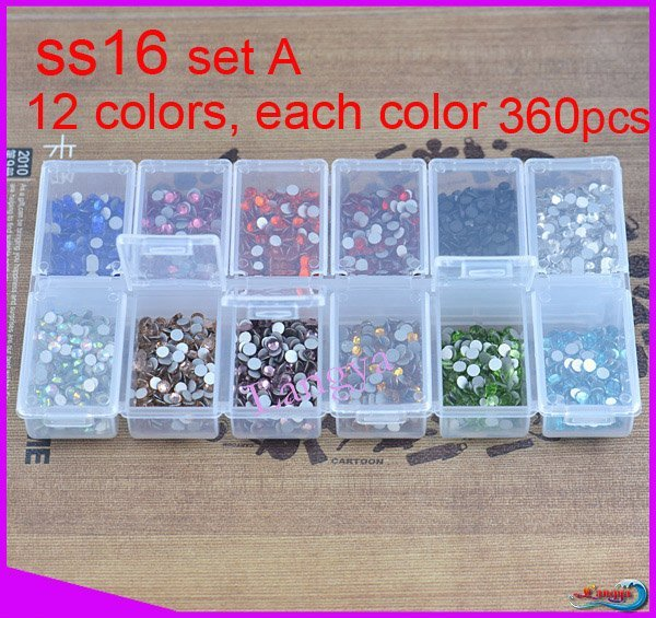 LY11407 ss16 Nail art rhinestone,set A: 12 colors mixed,each color 360 pcs,total 4320 pcs CPAM free, hot sale!!