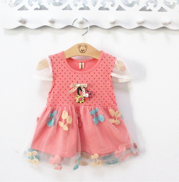 2015 Summer New bow princess Flower Mini lace noble fairy Children Kid Girl dress For Free Shipping(China (Mainland))