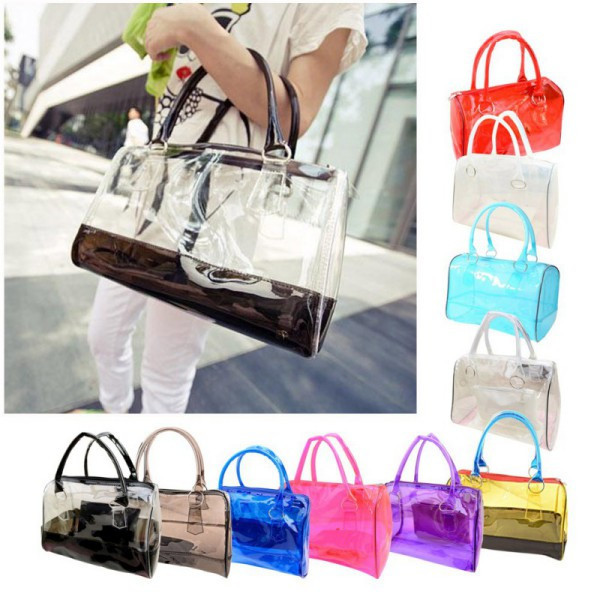 Women Sweet Jelly Clear Transparent Handbag Hobo Shoulder Bag(Hong Kong)