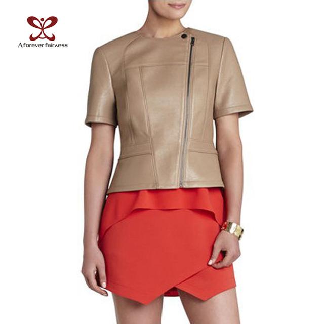 Женщины куртки Jaqueta де Couro FeМиниna свободного покроя с коротким рукавом искусственной ...