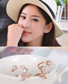 Korean Fashion Gold Silver Shiny Crystal Butterfly Jewelry Earrings Exquisite Small Ear Stud Earring For Women