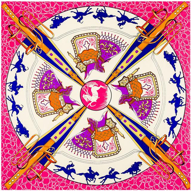 100 см * 100 см 100% саржевые шелковый евро бренд геометрический узор лошадь и седло женщины косынка весна Femal шали шарфов B123