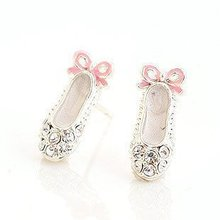 $10 (mix order) Free Shipping Fashion Jewelry Lovely Delicate Rhinestone Ballet Shoes Bowknot Earrings ( Pink) E105