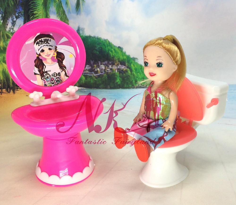 NK 2pcs/set 1 Closestool +1 Washbasin Bathroom Wash Units For Barbie Doll & Kelly Doll's Home Furnishings Doll Equipment.