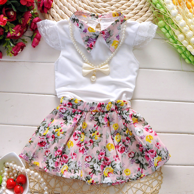 Toddler Baby Girls Clothes Set Blouse Top+Floral Skirt Outfits 2-7Y