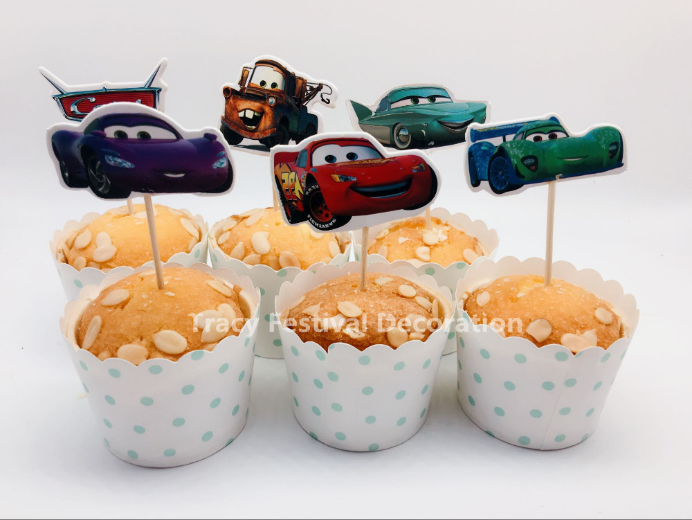 24pcs Cool Lightening Cars Party cupcake toppers picks decoration for kids birthday party favors Decoration supplies Wholesale(China (Mainland))
