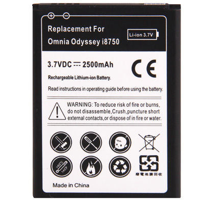 2500mAh Replacement Battery for Samsung Omnia Odyssey / i8750(China (Mainland))