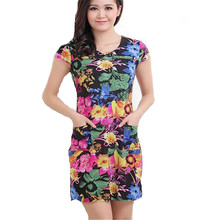L-4XL 2016 New Fashion Women Summer dress Slim Tunic Milk Silk print Floral Casual Plus Size sexy bodycon dress vestidos LJ1570