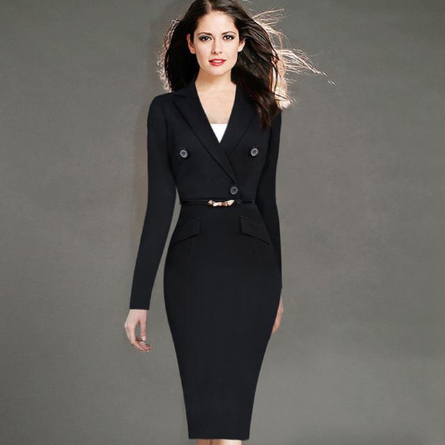 Para mujer otoño invierno vestido trajes elegantes negocios trajes formales de oficina túnicas ropa de trabajo