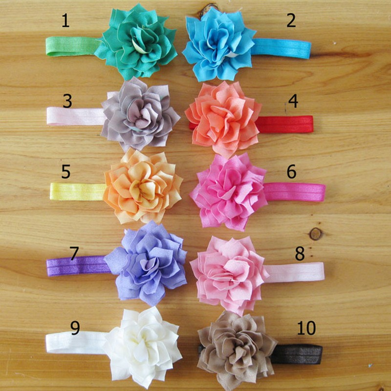 500pcs/lot Wholesale Kids Hair Accessories Solid Color Handmade Fabric Flower Infant Baby Girl Headbands Elastic Hair Bands(China (Mainland))
