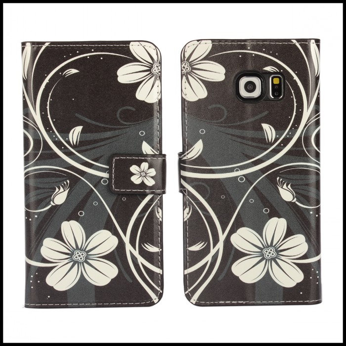 For Galaxy S6 Edge G925 Flower Case Phone Accessory Black Color White Flower Mobile Bag For Samsung Galaxy S6 Edge Cute Wallet(China (Mainland))