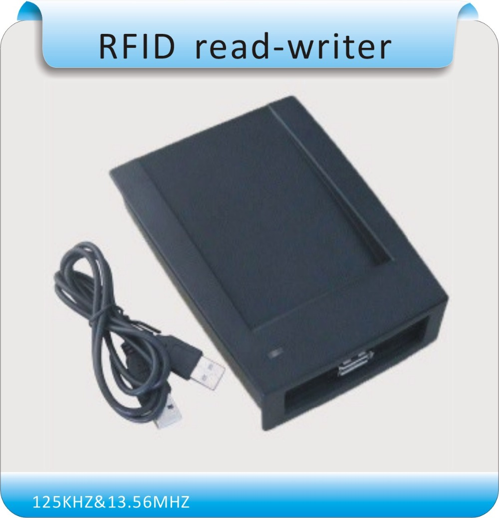 Free shipping 125KHZ &13.56MHz two frequency RFID Reader USB no drive TXT format output to PC+20pcs RFID cards(China (Mainland))