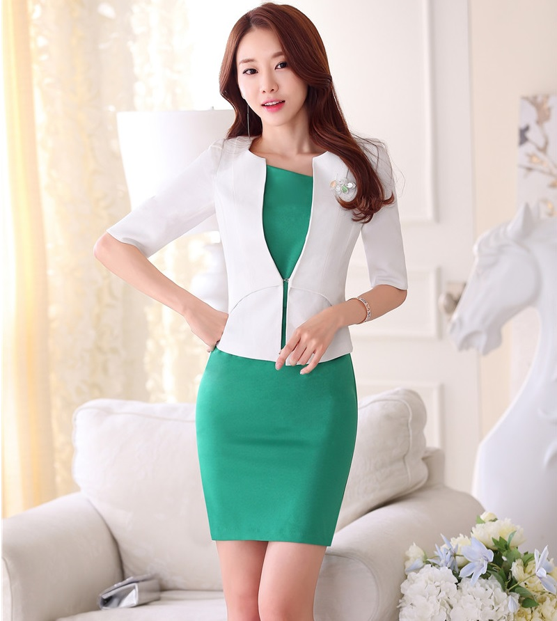 New Spring Summer Fashion Formal OL Styles Business Suits With Tops And Dress Office Ladies Blazers Outfits Beauty Salon Sets