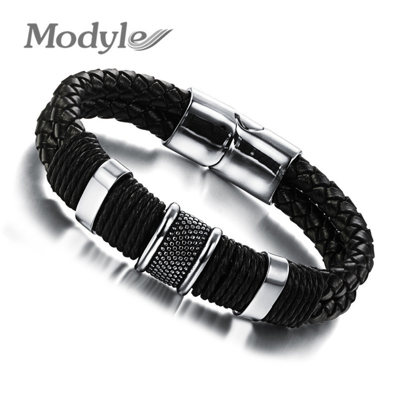 Genuine leather bracelet men stainless steel leather braid Bracelet with magnetic buckle claps pulseiras masculina(China (Mainland))