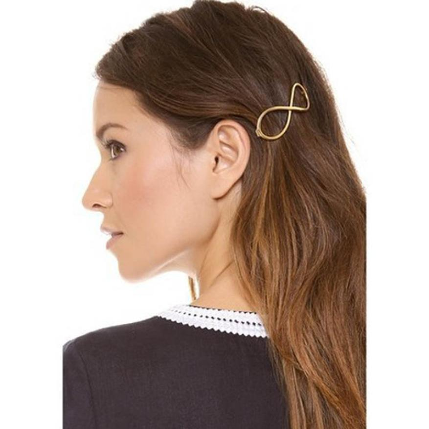 Stylish 1Pcs Women Infinity Gold Barrette Hairpin Hair Clip Hair accessories Headband Perfect Gift for lady(China (Mainland))