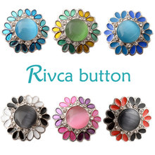 D02485 Wholesale 6 Color High Quality Charm Rhinestone Styles Metal Ginger Snap Button Fit Snaps Bracelets Woman Rivca Jewelry