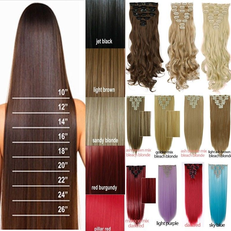 """23""""(58cm) 170g Long Straight Synthetic Hair Clip in hair Extensions pieces 8pcs/set Blonde Brown Golden Mix Blonde Free Shipping(China (Mainland))"""