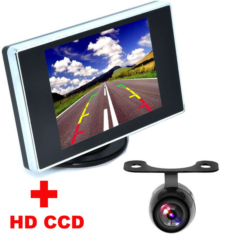"Univesal Nightvision HD CCD Car Rear View Camera + 3.5"" Color LCD Car Video Monitor backup Camera 2 in1 Auto Parking Assistance(China (Mainland))"