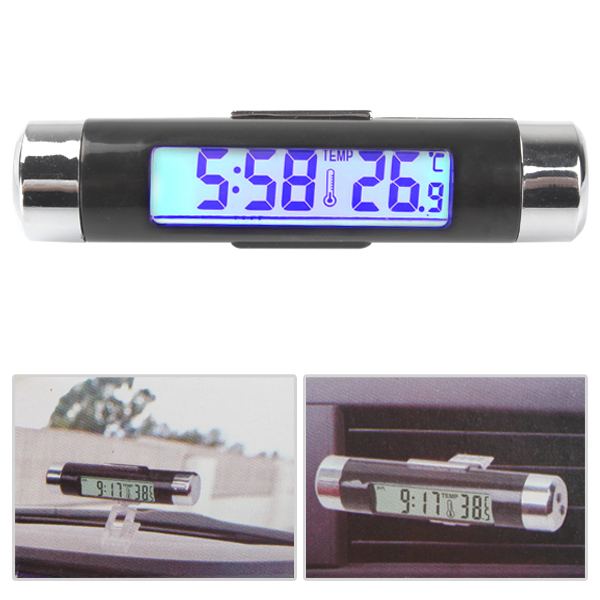 Fashionable Two Way Car LCD Digital Blue Backlight Clock & Thermometer with Clip(China (Mainland))