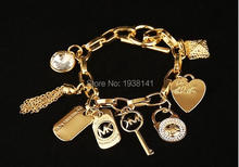 High quality Fashion Design Gold/silver Michaell Letter Heart Lock Bracelet Classic Chain Link bracelet Women free shipping B05(China (Mainland))