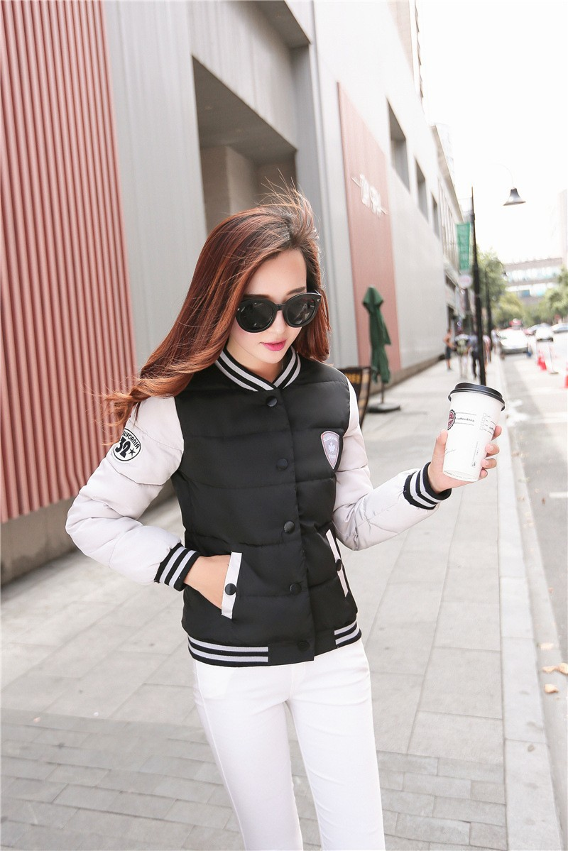 2015 Sport Jackets Women Cotton Padded Autumn Coat College Baseball Jacket Slim Casual Fall Jackets for Women Free Shipping
