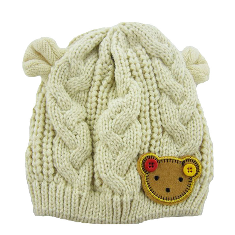Knitted Christmas Baby Girls Winter Hat Warm Toddler Hat Beanies Ears Cartoon Label Bear Animal Hats Kids Solid Baby Hats 082(China (Mainland))