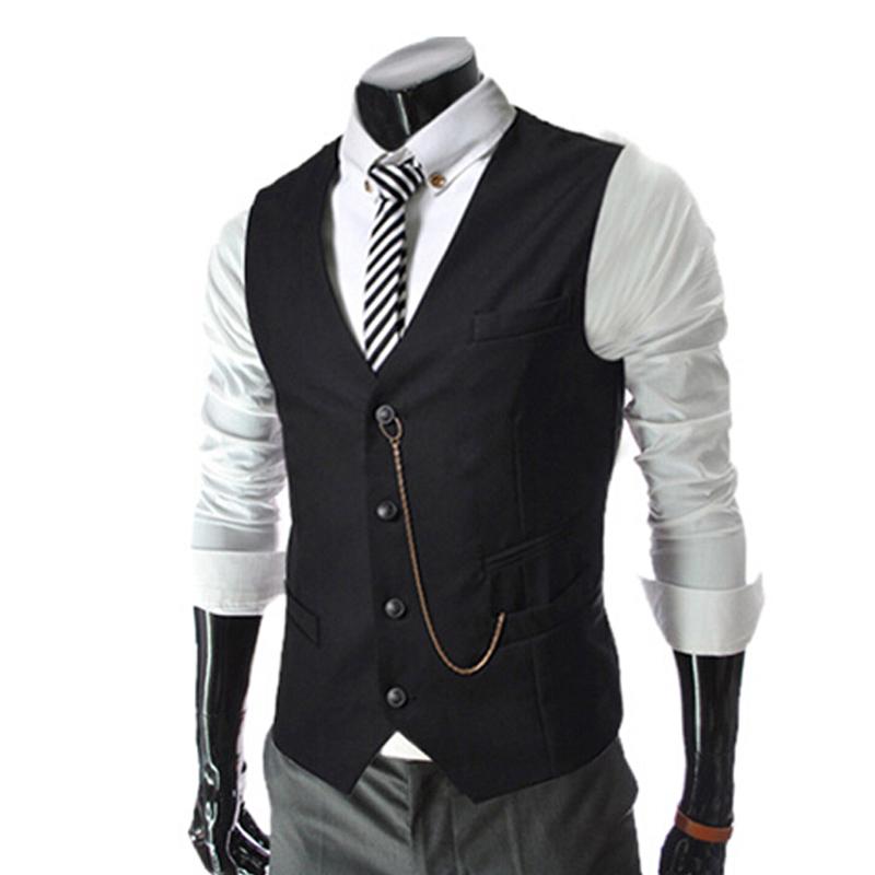 2015 Hot New Business Men's Suit Vest Metal Chain V-necke Slim Fit Fashion Men Vest Male Blazer Vest 4 Color Size:M-XXL(China (Mainland))