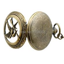 Free shipping 2015 Men hollow fullmetal alchemist gold cheap quartz hunger games pocket watch necklace chain